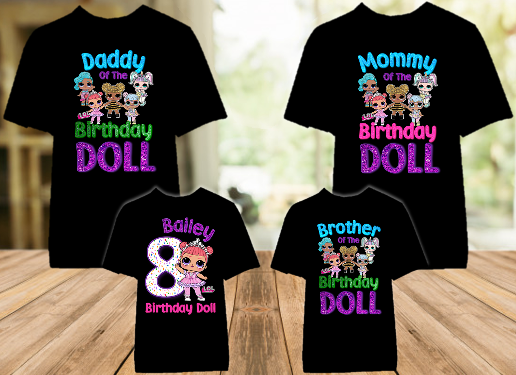 L.O.L. Surprise LOL Dolls Princess Birthday Party Personalized Color T Shirt - 4 Pack - LOLPC4P