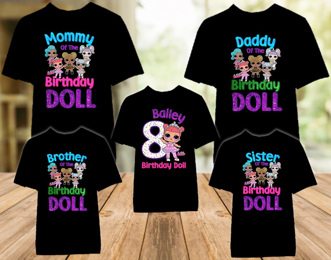 L.O.L. Surprise LOL Dolls Princess Birthday Party Personalized Color T Shirt - 5 Pack - LOLPC5P