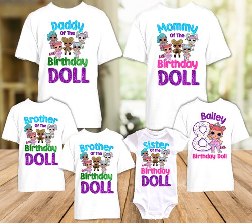 L.O.L. Surprise LOL Dolls Princess Birthday Party Personalized T Shirt or Onesie - 6 Pack - LOLP6P