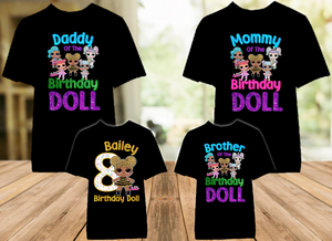 L.O.L. Surprise LOL Dolls Queen Bee Birthday Party Personalized Color T Shirt - 4 Pack - LOLQC4P