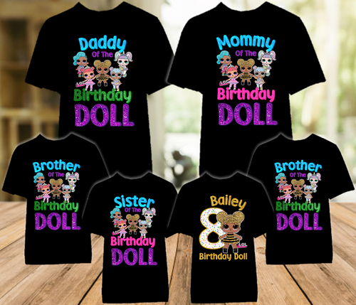 L.O.L. Surprise LOL Dolls Queen Bee Birthday Party Personalized Color T Shirt - 6 Pack - LOLQC6P