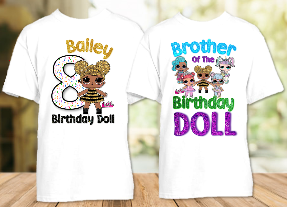 L.O.L. Surprise LOL Dolls Queen Bee Birthday Party Personalized T Shirt or Onesie - 2 Pack - LOLQ2P
