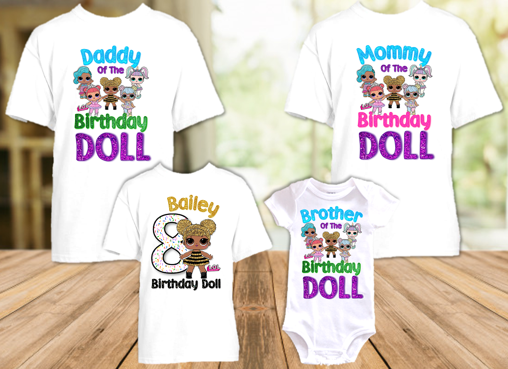 L.O.L. Surprise LOL Dolls Queen Bee Birthday Party Personalized T Shirt or Onesie - 4 Pack - LOLQ4P