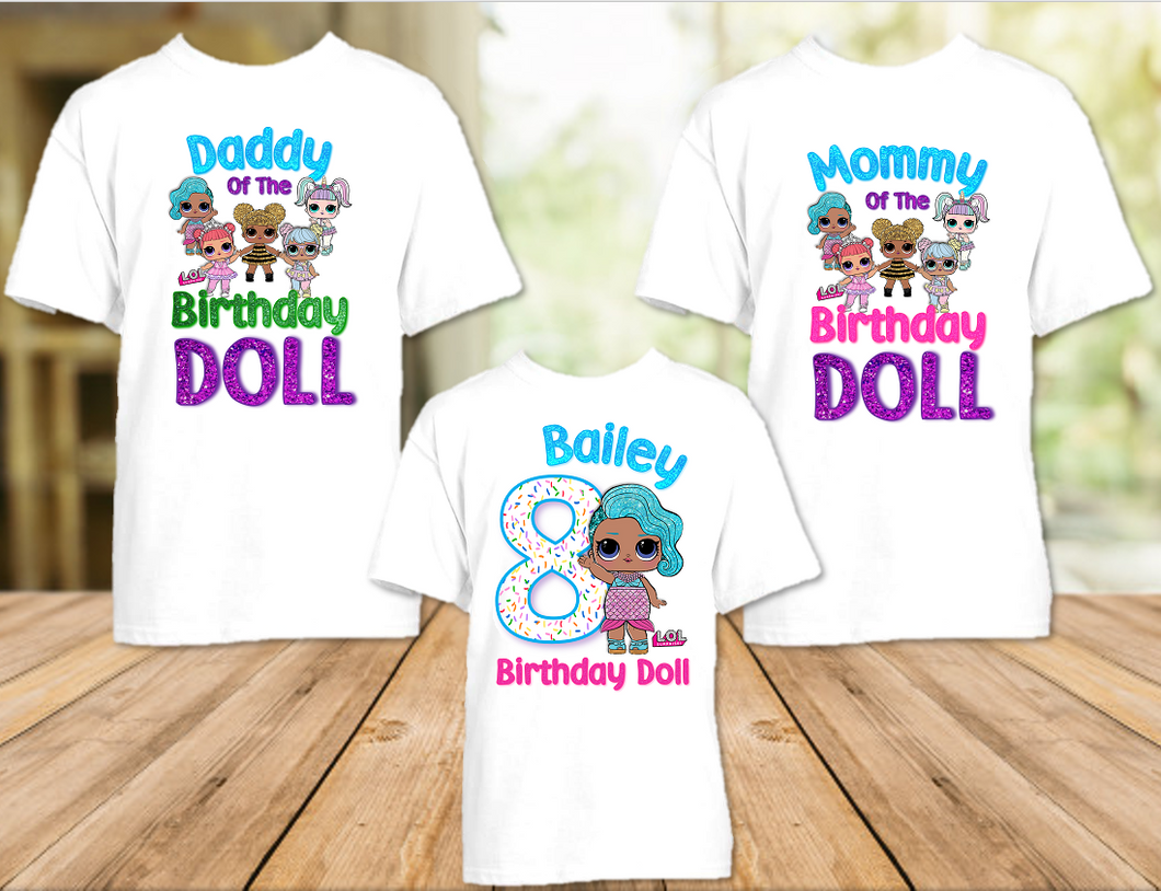 L.O.L. Surprise LOL Dolls Splash Queen Birthday Party Personalized T Shirt or Onesie - 3 Pack - LOLS3P