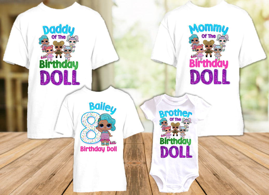 L.O.L. Surprise LOL Dolls Splash Queen Birthday Party Personalized T Shirt or Onesie - 4 Pack - LOLS4P