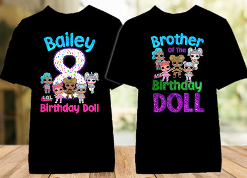L.O.L. Surprise LOL Dolls Birthday Party Personalized Color T Shirt - 2 Pack - LOLC2P
