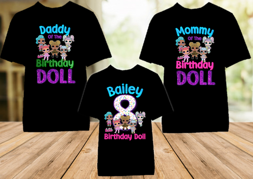 L.O.L. Surprise LOL Dolls Birthday Party Personalized Color T Shirt - 3 Pack - LOLC3P
