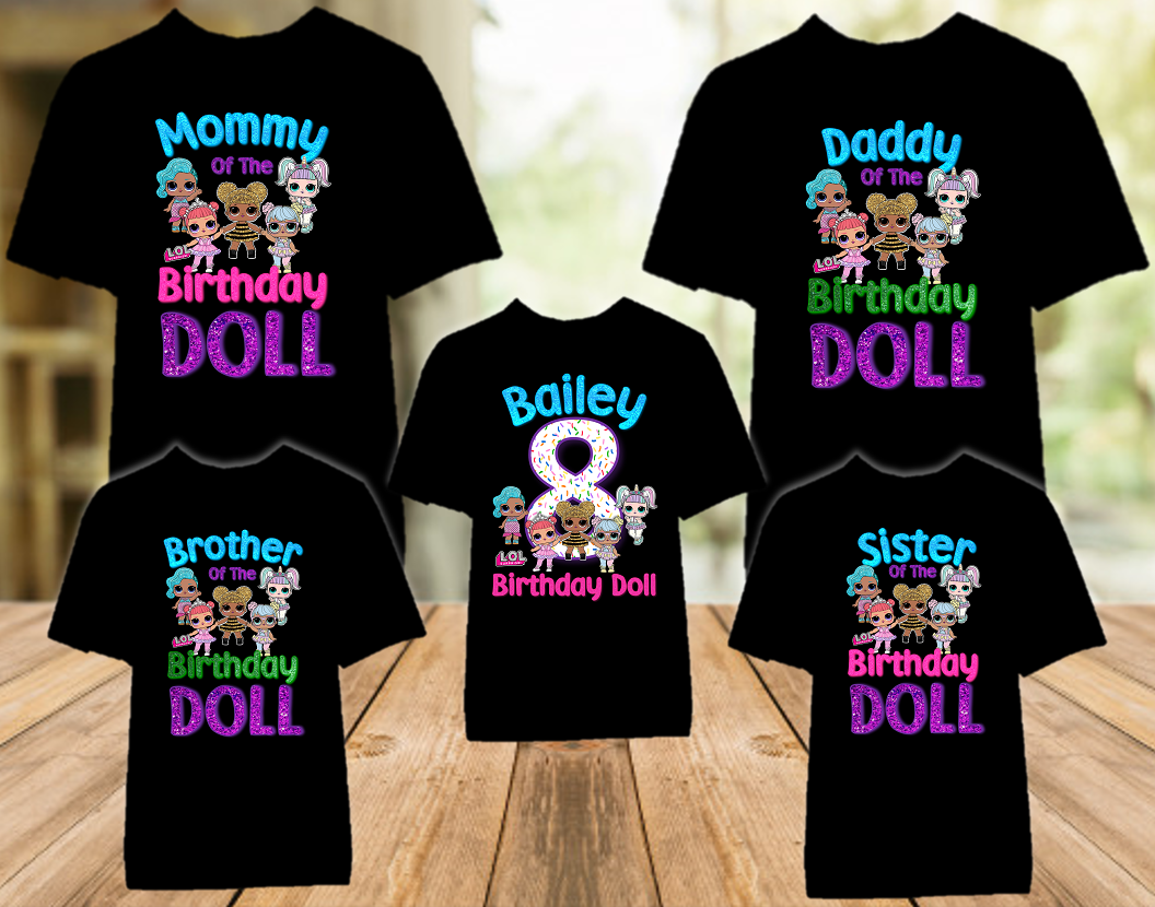 L.O.L. Surprise LOL Dolls Birthday Party Personalized Color T Shirt - 5 Pack - LOLC5P