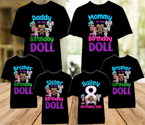 L.O.L. Surprise LOL Dolls Birthday Party Personalized Color T Shirt - 6 Pack - LOLC6P
