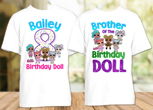 L.O.L. Surprise LOL Dolls Birthday Party Personalized T Shirt or Onesie - 2 Pack - LOL2P