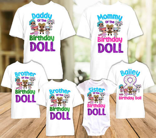 L.O.L. Surprise LOL Dolls Birthday Party Personalized T Shirt or Onesie - 6 Pack - LOL6P