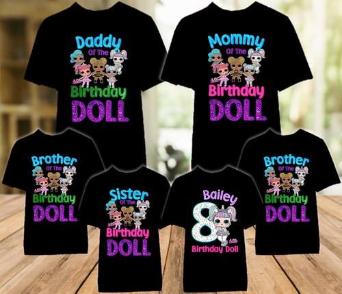 L.O.L. Surprise LOL Dolls Unicorn Birthday Party Personalized Color T Shirt - 6 Pack - LOLUC6P