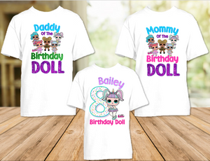 L.O.L. Surprise LOL Dolls Unicorn Birthday Party Personalized T Shirt or Onesie - 3 Pack - LOLU3P