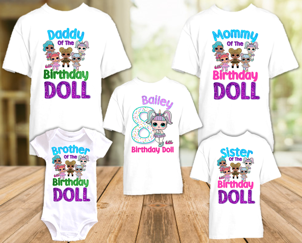 L.O.L. Surprise LOL Dolls Unicorn Birthday Party Personalized T Shirt or Onesie - 5 Pack - LOLU5P