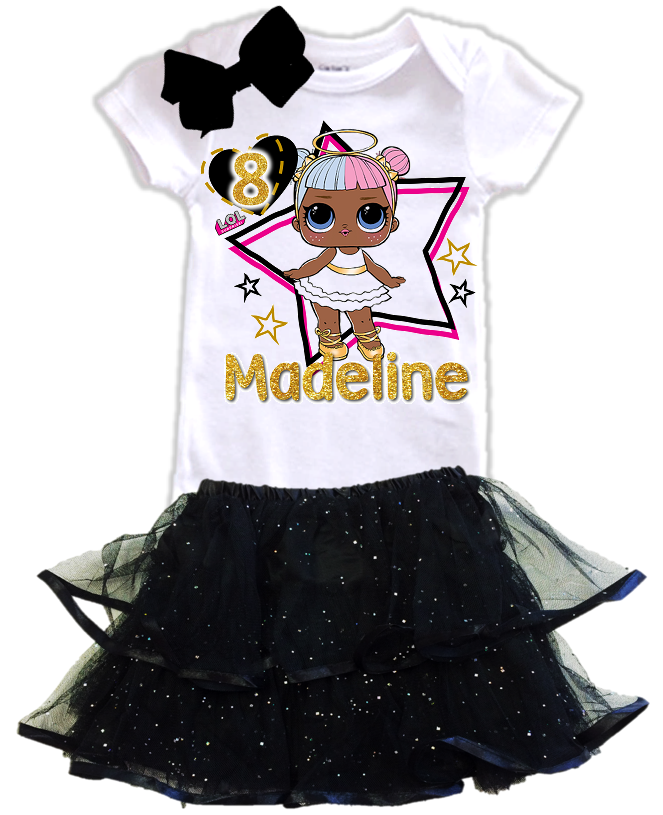 L.O.L. Surprise LOL Dolls Angel Birthday Party Personalized Glitter Tutu Outfit - All Sizes - LSATIERTO01