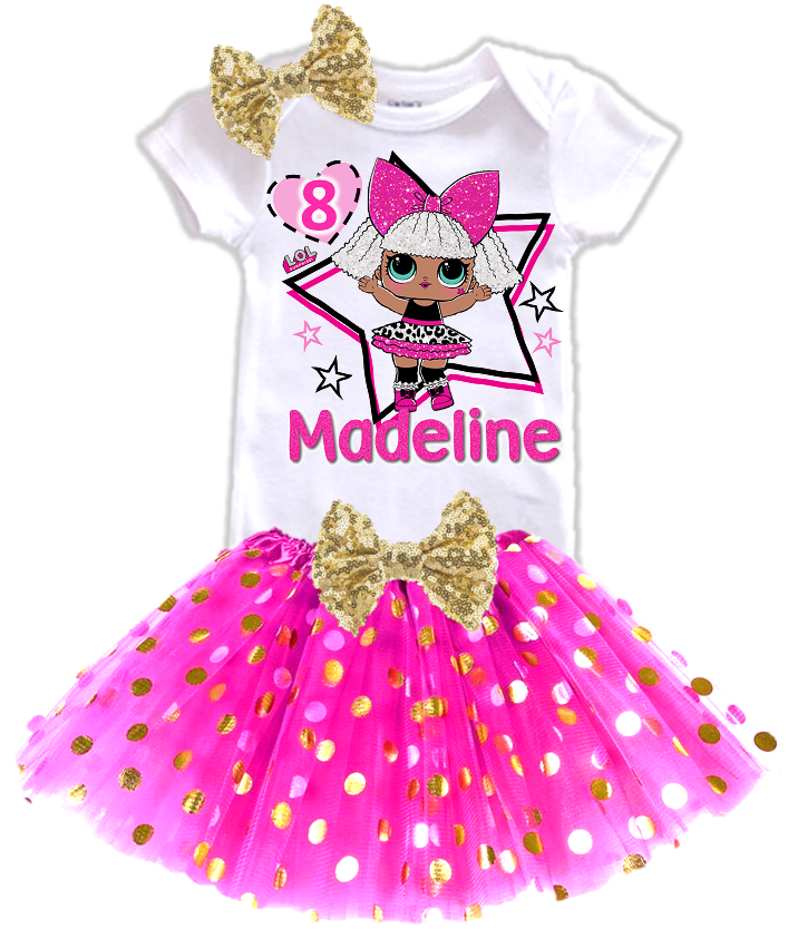 L.O.L. Surprise LOL Dolls Diva Birthday Party Personalized Gold Dots Tutu Outfit - All Sizes - LSDGOLDTO01