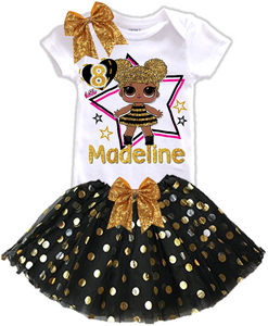 L.O.L. Surprise LOL Dolls Queen Bee Birthday Party Personalized Gold Dots Tutu Outfit - All Sizes - LSQBGOLDTO01