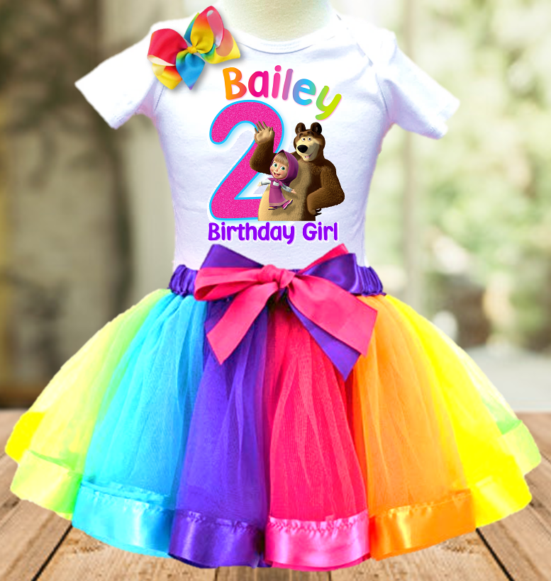 Masha and The Bear Birthday Party Personalized Ribbon Tutu Outfit - All Sizes Available - MBTO01