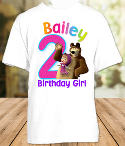 Masha and The Bear Birthday Party Personalized T Shirt or Onesie - All Sizes - MBS1