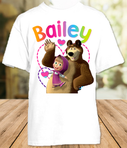 Masha and The Bear Party Personalized T Shirt or Onesie - All Sizes - MBPS1