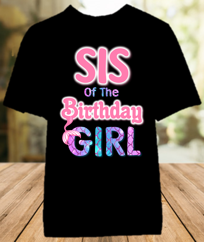 Mermaid Birthday Party Personalized Sibling Sister Color T Shirt - All Sizes - MSICS1