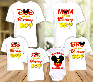 Mickey Mouse Ears Birthday Party Personalized T Shirt or Onesie - 6 Pack - MME6P