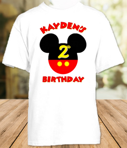 Mickey Mouse Ears Birthday Party Personalized T Shirt or Onesie - All Sizes - MMES1
