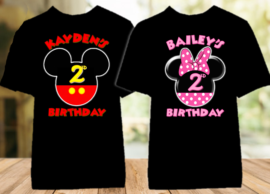 Mickey Minnie Mouse Ears Birthday Party Personalized Color T Shirt - 2 Pack - MMEC2P1