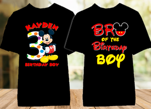 Mickey Mouse Birthday Party Personalized Color T Shirt - 2 Pack - MIMC2P