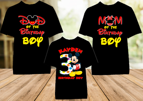 Mickey Mouse Birthday Party Personalized Color T Shirt - 3 Pack - MIMC3P
