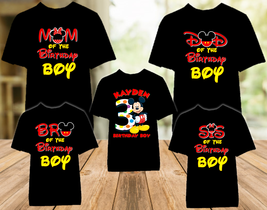 Mickey Mouse Birthday Party Personalized Color T Shirt - 5 Pack - MIMC5P