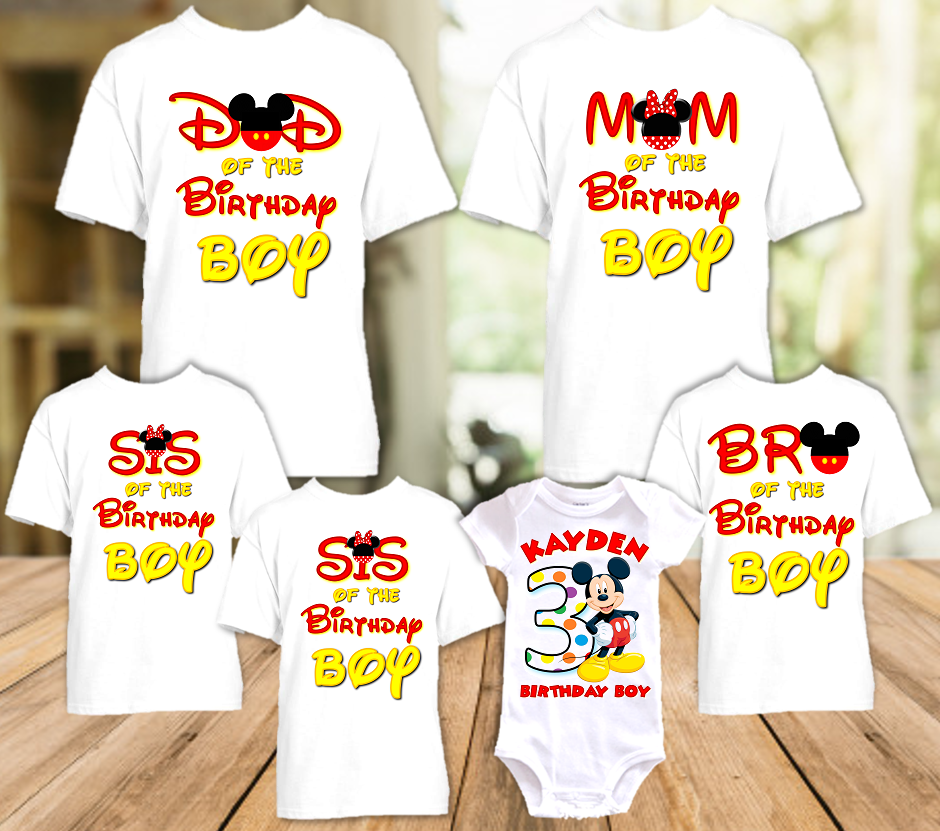 Mickey Mouse Birthday Party Personalized T Shirt or Onesie - 6 Pack - MIM6P
