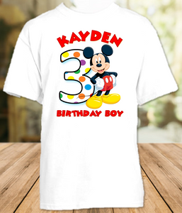 Mickey Mouse Birthday Party Personalized T Shirt or Onesie - All Sizes - MIMS1