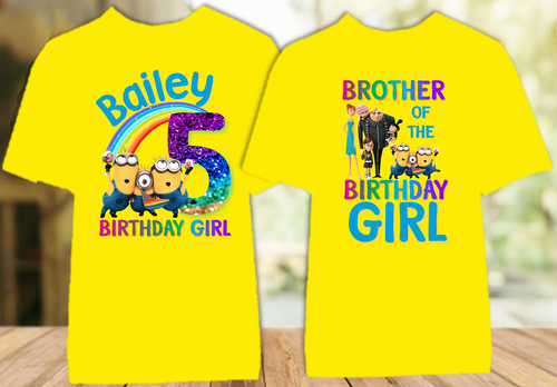 Despicable Me Minions Birthday Party Personalized Color T Shirt - 2 Pack - DEMIC2P
