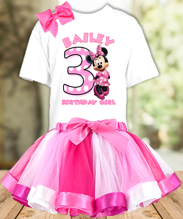 Minnie Mouse Bowtique Birthday Party Personalized Ribbon Tutu Outfit - All Sizes Available - MMTO01