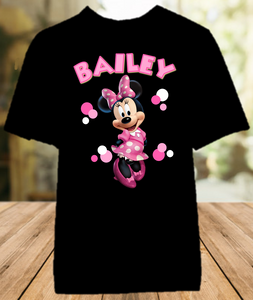 Minnie Mouse Party Personalized Color T Shirt - All Sizes - MINMPCS1