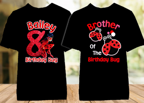 Miraculous Ladybug Birthday Party Personalized Color T Shirt - 2 Pack - MLC2P