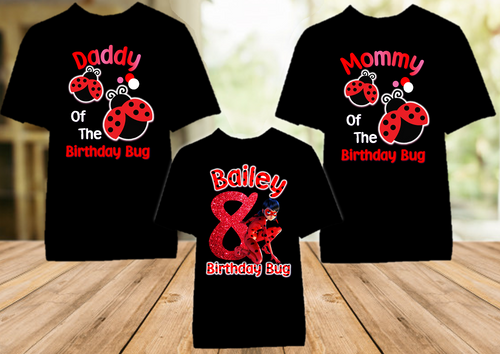 Miraculous Ladybug Birthday Party Personalized Color T Shirt - 3 Pack - MLC3P