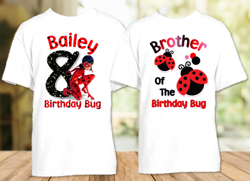 Miraculous Ladybug Birthday Party Personalized T Shirt or Onesie - 2 Pack - ML2P