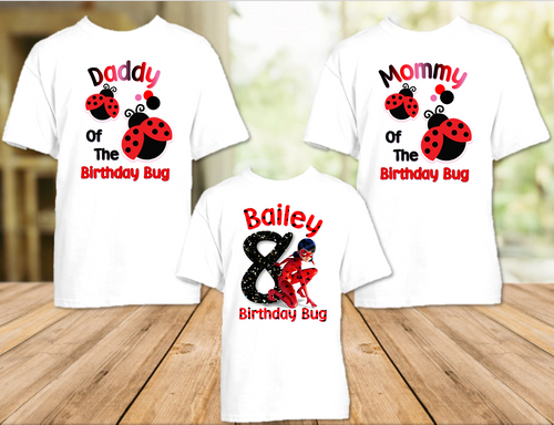 Miraculous Ladybug Birthday Party Personalized T Shirt or Onesie - 3 Pack - ML3P
