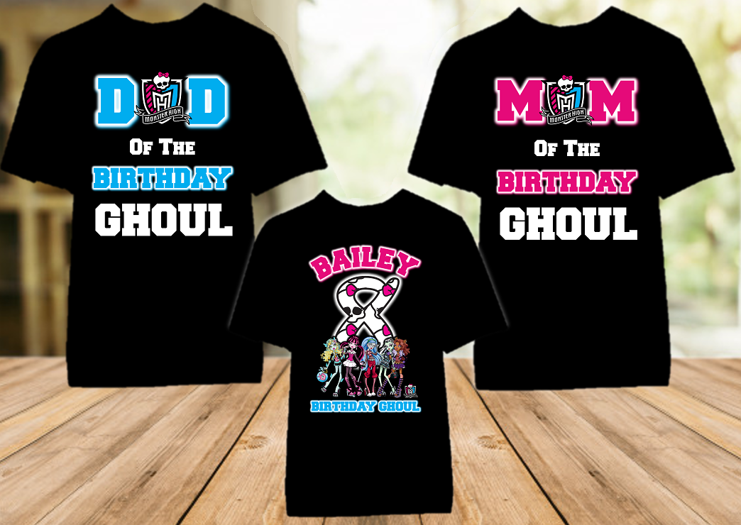 Monster High Birthday Party Personalized Color T Shirt - 3 Pack - MHC3P