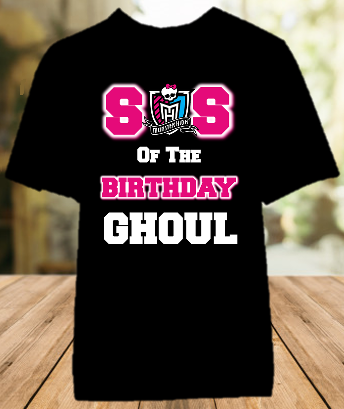 Monster High Birthday Party Personalized Sibling Sister Color T Shirt - All Sizes - MHSCS1