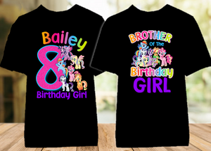 My Little Pony Birthday Party Personalized Color T Shirt - 2 Pack - MLPC2P