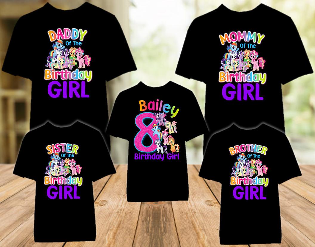 My Little Pony Birthday Party Personalized Color T Shirt - 5 Pack - MLPC5P
