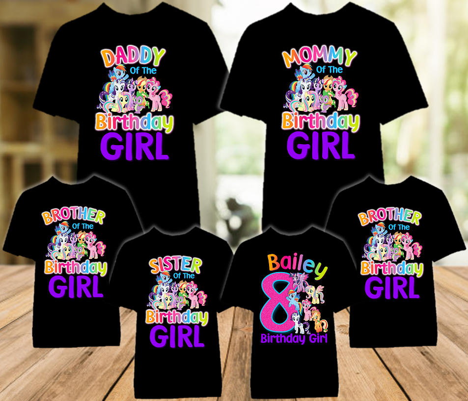 My Little Pony Birthday Party Personalized Color T Shirt - 6 Pack - MLPC6P