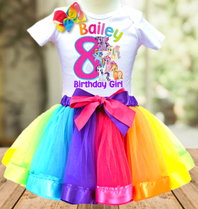 My Little Pony Birthday Party Personalized Ribbon Tutu Outfit - All Sizes Available - LPTO01