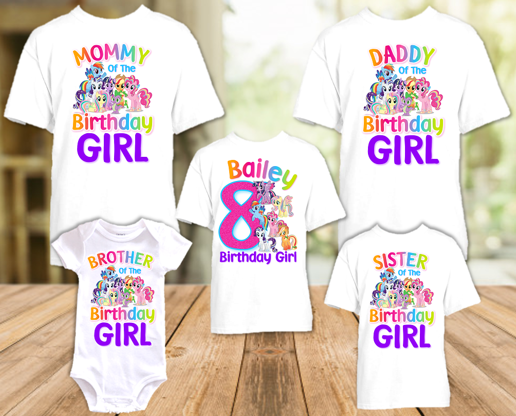 My Little Pony Birthday Party Personalized T Shirt or Onesie - 5 Pack - MLP5P