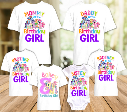 My Little Pony Fluttershy Birthday Party Personalized T Shirt or Onesie - 6 Pack - MLPF6P
