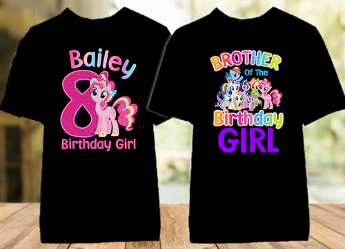 My Little Pony Pinkie Pie Birthday Party Personalized Color T Shirt - 2 Pack - MLPPIC2P