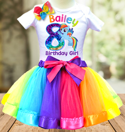 My Little Pony Rainbow Dash Birthday Party Personalized Ribbon Tutu Outfit - All Sizes - MLPRTO02